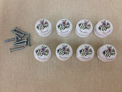 Lot of 8 White Porcelain Floral Knobs Center Mount, Handles Pulls Dresser Cabine