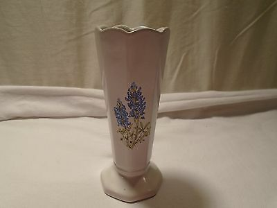 Frankoma Pottery White Vase with Blue Fowers #38