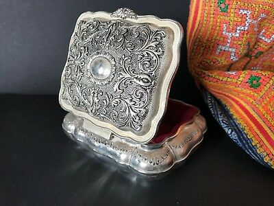 Vintage Look Silver Finish Vanity Box with Red Velvet Lining…