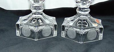 "Fostoria Avon COIN FROSTED CRYSTAL *4 3/4"" CANDLEHOLDERS w/ STICKER *PAIR**"