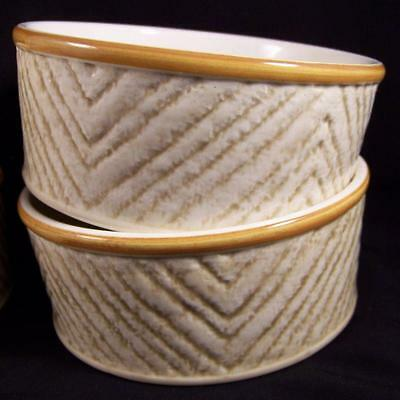 Lot 4 Stangl Corduroy Cereal Soup Bowls Almond Chevron Herringbone Hand Painted