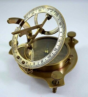 Antique Sundial Compass Replica 4in - Solid Brass Pocket Sundial - West London