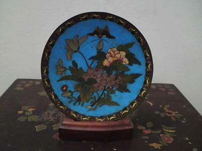 Antique Japanese Meiji cloisonne enamel on brass plate butterfly grape peony