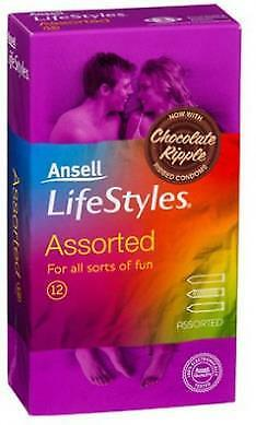 12 Pack ANSELL LifeStyles ASSORTED Condoms Chocolate Ripple RIB PRIVATE LISTING