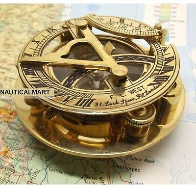 Fascinating Solid Brass Sundial Clock With Inset Compass And Engraved Vane. 3