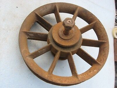"""Vintage Rusty Iron 11"""" Spoked Rope Pulley Industrial Metal Lamp Base Old Barn Fd"""