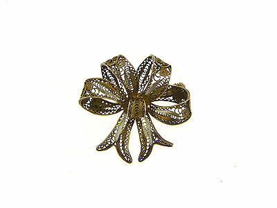 Estate 800 Silver Ornate Intricate Filigree Fancy Bow Design Pin
