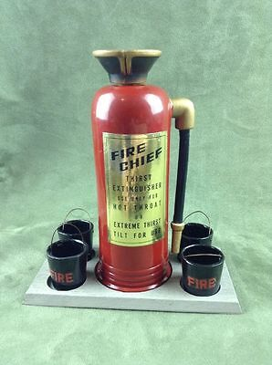 RARE Vintage Red Fire Chief Thirst Extinguisher Decanter and Cups Sake Set Shots
