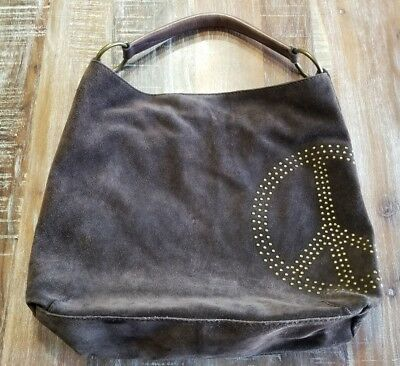 Lucky Brand Brown Suede Leather Hobo Handbag Bag Peace Sign Purse