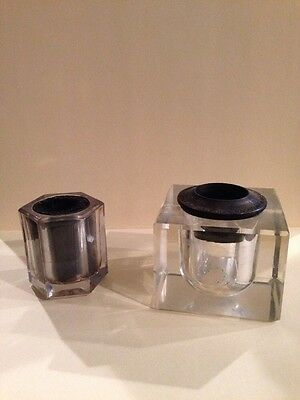 Lot of 2 Vintage Antique Solid Clear  Thick Glass Inkwells