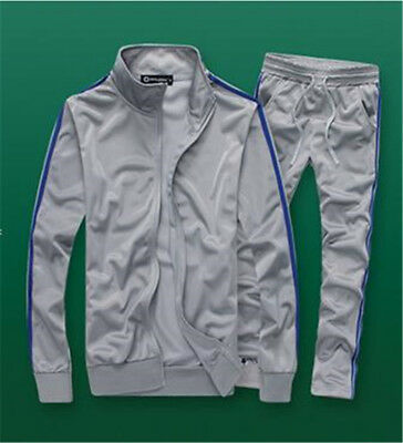 Men Running Stripes Zip TrackSuit Jogging Sport Jacket Suit Set Pants #Sk