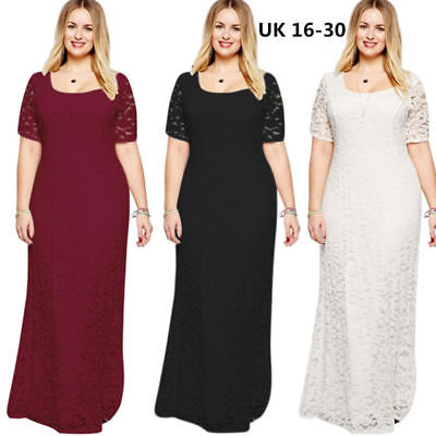 Plus size UK 16-30 Ladies Maxi Lace Bridesmaid Wedding Dress Formal ball gown