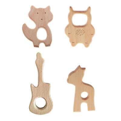 4pcs Baby Teether Natural Wooden DIY Craft Animal Shape Ring Chewing Kid Toy