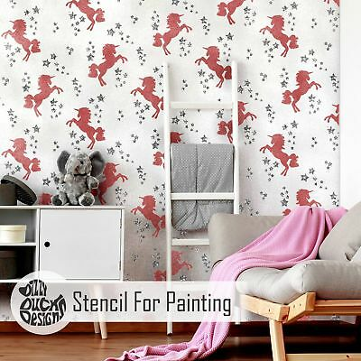 UNICORN STAR Repeat Nursery Girls Room Wall Stencil for Painting