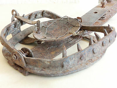 "WOW! 20"" HUGE Antique Hand Forged Iron Веаr Trap with springs & Wrought spikes"