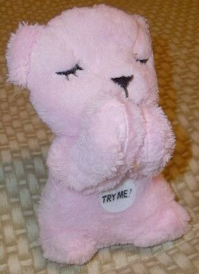 "Prayer Bear 6"" Pink Bear Says ""Now I Lay Me"" Prayer In Real Childs Voice NWT"