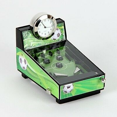 Football Theme Pinball Machine Miniature Clock In Shiny Chrome, Green And Black