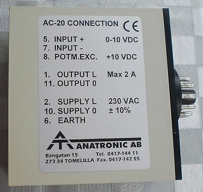 Anatronic Relais Input 0-10 VDC Max 2A Supply L 230 V AC Power Controller AC 20