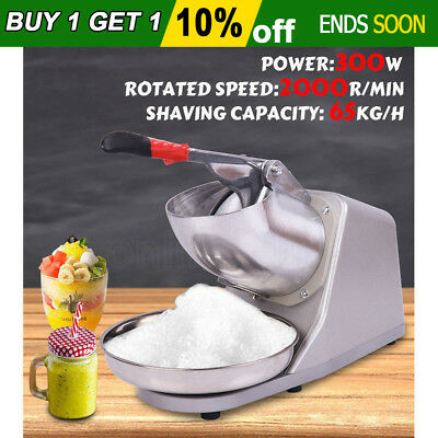 Electric ice Shaver Crusher 300W Smoothie Machine Snow Cone 65KG/H Maker AU Plug