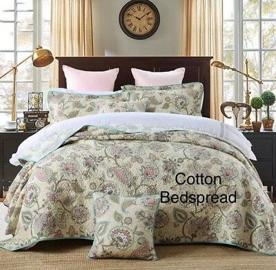 New cotton 3pc quilted queen king floral beige blue beautiful coverlet vintage