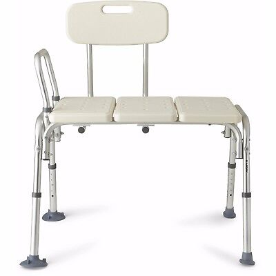 Shower Transfer Bench Adjustable Bath Seat Back Sturdy Support Non-skid Stool