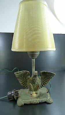 An Old Rare Solid Brass & Plastic Shade Eagle Shaped Table Top Working Lamp