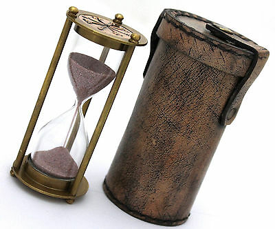 Brass Sand Timer Hourglass Sand Timer Leather Box