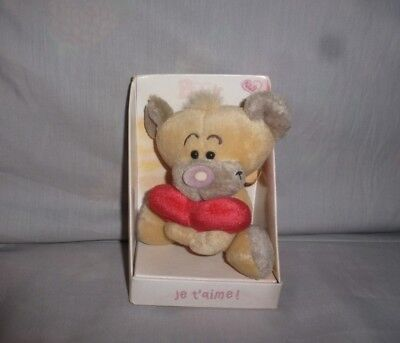 """Peluche Doudou Diddl Ours Pimboli coeur calin """"Je t'aime"""" TBE 17cm NEUF"""