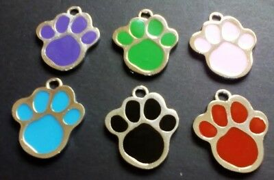 Dog Tags Paw Print Personalised Deep Engraved Enamel Cat ID Tags Discs