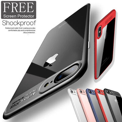 For iPhone X 8 7 Plus Shockproof Hybrid Bumper Clear Hard Back Apple Case Cover