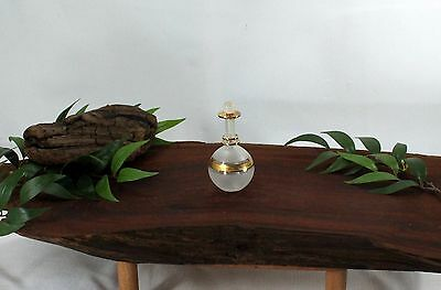 Vintage Delicate Perfume Glass Bottle with Gold Trim bbb327