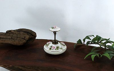 Vintage Ceramic Perfume Bottle with delicate Pink Roses and Green Leaves aaa595