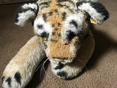 """Large Vintage Steiff Lying Tiger Made In Western Germany 22"""" Long"""