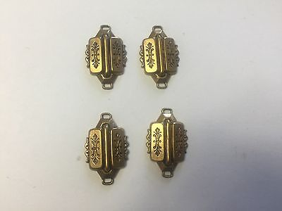 Vintage Brass Deco Scroll Engraved Ornate Unique Freeform Connectors Findings