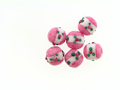 Vintage Italian Rare Pink & White Applied Floral Cube Shape Art Glass Bead Lot
