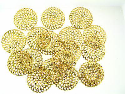 Vintage NOS Gold Metal Heavy Duty Open Fancy Design Large Round Findings Lot