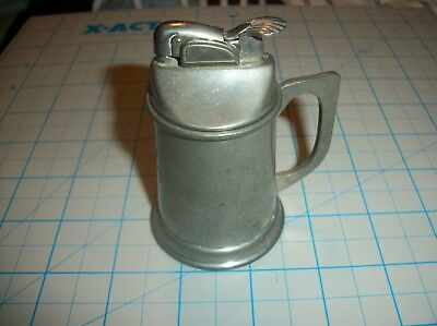 Excellent Vintage 1950-60's Evans Table Lighter with Stieff Pewter Tankard Base!