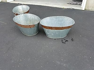 3 Vintage Galvanized Heavy Duty Metal Steel Bucket for plants garden decor