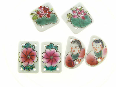 Vintage Asian Flower & Figural Person Scene Curved 2 Strand Ceramic Bead Lot