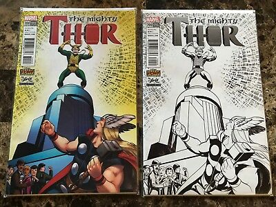 Stan Lee Box Exclusive Variant The Mighty Thor #700 Loki Covers Color & B&W