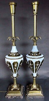 Pair of Vtg Italian Torchiere Marble Glass Brass Table Lamps Hollywood Regency