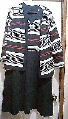 """Vintage 60's or 70""""s - Thick & Heavy Waffle-Weave DRESS w/matching JACKET - 22W"""
