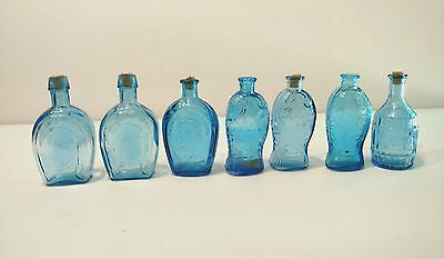 "7 Small Wheaton 3"" Blue Bottles Horseshoe, Thomas Jefferson, Root Bitters Fischs"