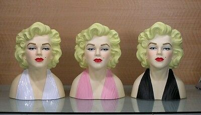 """10 Inch Licensed Marilyn Monroe Head Vase Your choice of Color """" CLOSE OUT """""""