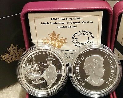 1778-2018 Proof Silver Dollar $1 Canada 240Anniversary Captain Cook Nootka Sound