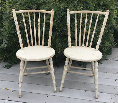 Pair Antique PRIMITIVE White CHIPPY Paint Wood CHAIRS Ribbed SPINDLES Garden VTG