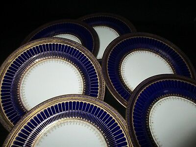 George Jones Crescent china Cobalt  Blue and gold 17.5 cm Side plates x 6