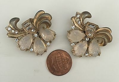 Beautiful Art Nouveau pair of  dress clips with moon stones and rhinestones