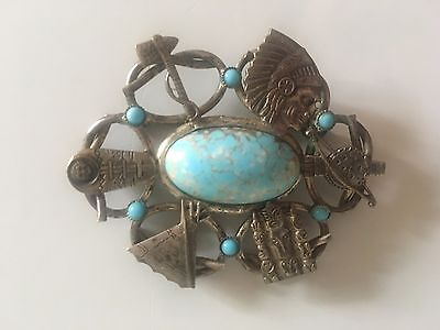 Unusual Vintage Ethnic brooch with turquoise stones