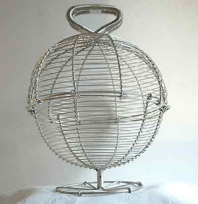 Antique Egg Basket French Country Kitchen Woven Wire Silver tone Globe RARE VTG